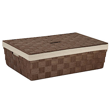 "Honey-Can-Do Large Paper Rope Basket With Liner, 23 1/2"" x 15 3/4"" x 6 1/2"", Brown"
