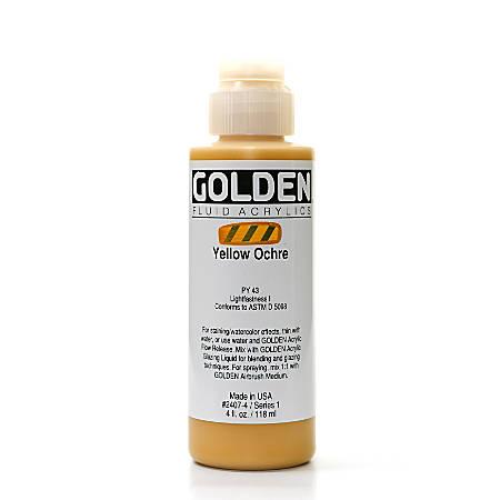 Golden Fluid Acrylic Paint, 4 Oz, Yellow Ochre