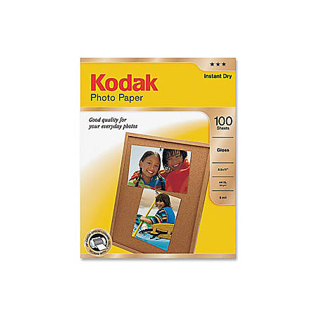"""Kodak® Glossy Photo Paper, Letter Size (8 1/2"""" x 11""""), Pack Of 100 Sheets"""