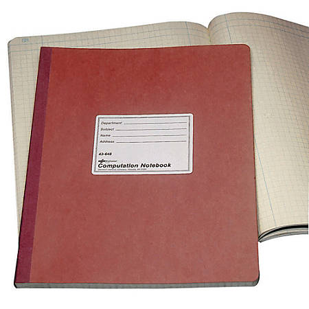 "National® Brand 100% Recycled Computation Notebook, 4 x 4 Quad, 11 3/4"" x 9 1/4"", 75 Sheets"