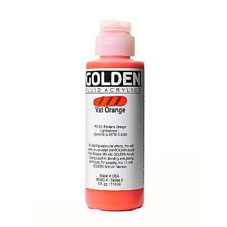 Golden Fluid Acrylic Paint, 4 Oz, Vat Orange