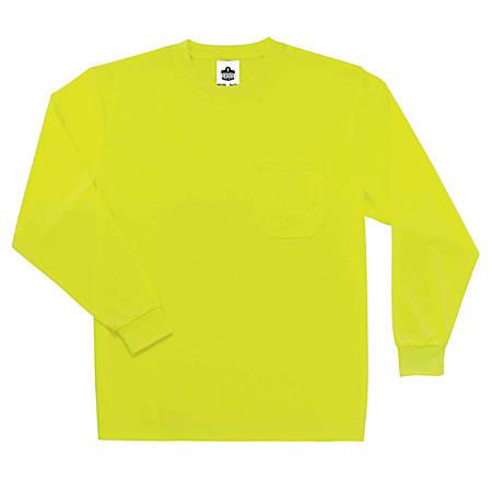 Ergodyne GloWear 8091 Non-Certified Long-Sleeve T-Shirt, 3X, Lime