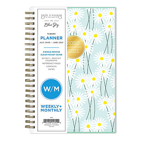 """Blue Sky™ Snow & Graham Weekly/Monthly Planner, 5"""" x 8"""", Daisies, June 2020 To July 2021, 1209"""