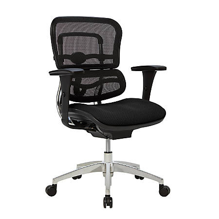 WorkPro® 12000 Ergonomic Mesh/Fabric Managerial Mid-Back Chair, Black/Chrome