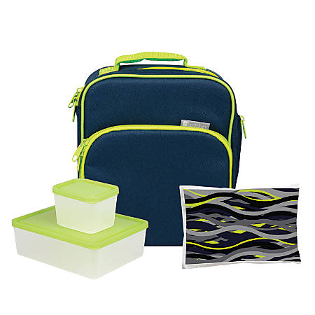 Bentology 4-Piece Lunch Kit, Night, Blue/Green