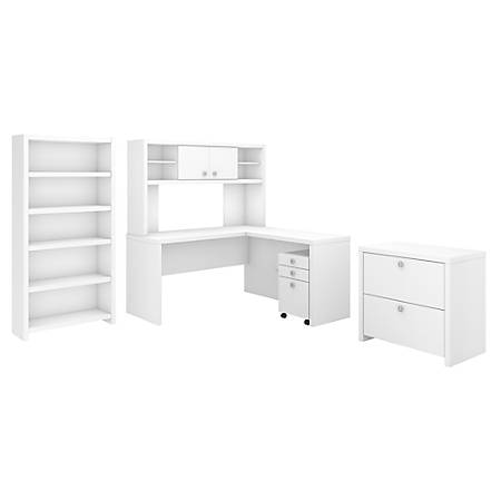 kathy ireland® Office by Bush Business Furniture Echo L Shaped Desk With Hutch, Bookcase And File Cabinets, Pure White, Standard Delivery