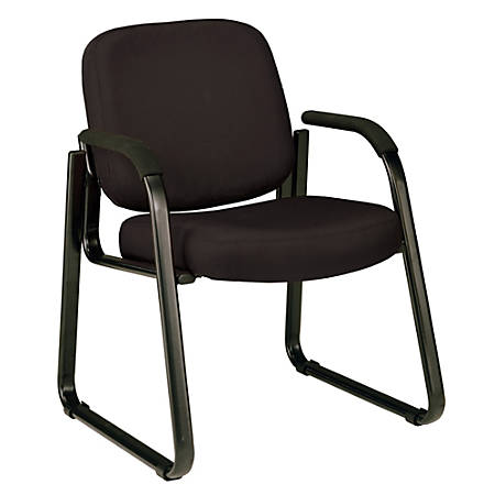 """OFM Guest Chair With Fabric Seat And Back, 34""""H x 24""""W x 27""""D, Black Frame, Black Fabric"""