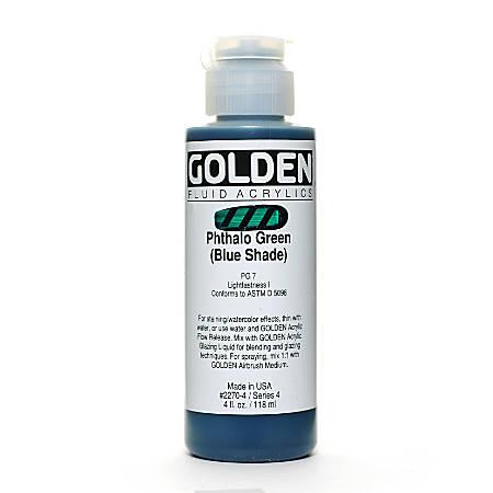 Golden Fluid Acrylic Paint, 4 Oz, Phthalo Green/Blue Shade