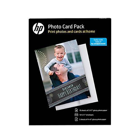 """HP Photo Card Pack With Envelopes, 5"""" x 7"""", 10.5 Mil, Pack Of 25 Pieces"""
