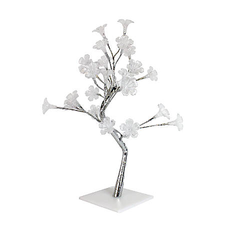 """Simple Designs Morning Glory Lighted Decorative Tree, 17 3/4""""H, Clear Shade/Silver Base"""