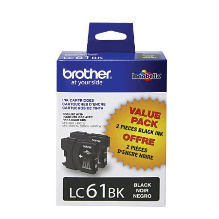 Brother® LC61BK, Black Ink Cartridges, Pack Of 2