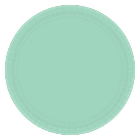 "Amscan Round Paper Plates, 9"", Cool Mint, Pack of 80 Plates"