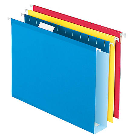 """Office Depot® Box-Bottom Hanging File Folders, Letter Size (8-1/2"""" x 11""""), 2"""" Expansion, Assorted Colors, Pack Of 12"""