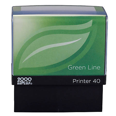 """2000 PLUS® Green Line® Self-Inking Stamp, P40GL, 80% Recycled, 13/16"""" x 2 3/16"""" Impression"""