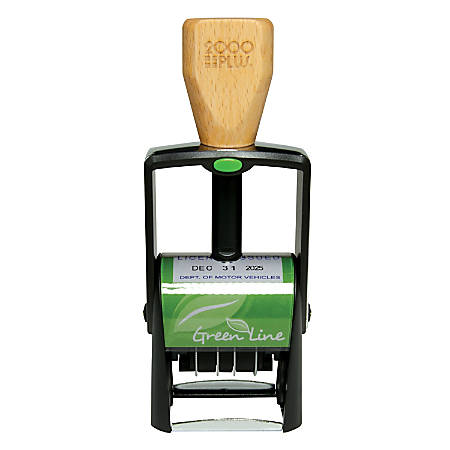 """2000 PLUS® Green Line® Self-Inking Single-Pad Dater, 2360GL, 80% Recycled, 1 1/8"""" x 1 11/16"""" Impression"""
