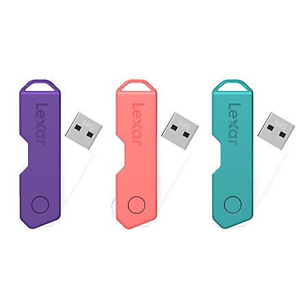 Lexar® JumpDrive® TwistTurn2 USB 2.0 Flash Drive, 32GB, Assorted Colors, LJDTT2-32GABOD20