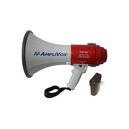 AmpliVox S602R Mity-Meg 25-Watt Megaphone, White/Red