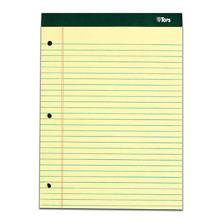 "TOPS™ Double Docket™ Writing Pads, 3-Hole Punched, 8 1/2"" x 11"", Legal Ruled, 100 Sheets, Canary, Pack Of 6 Pads"