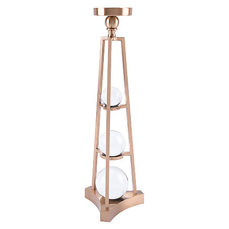 """Zuo Modern Candle Holder With Orb, Large, 22 13/16""""H x 7 1/8""""W x 7 1/8""""D, Antique Brass"""