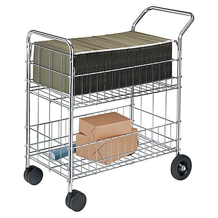 Fellowes® Chrome Mail Cart, 150 Lb. Capacity
