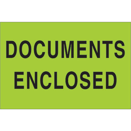 """Tape Logic® Preprinted Shipping Labels, DL1206, Documents Enclosed, Rectangle, 2"""" x 3"""", Fluorescent Green, Roll Of 500"""