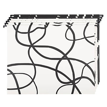 "U Brands Hanging File Folders, 1"" Expansion, Letter Size, Artistic Elements, Pack Of 6 Folders"