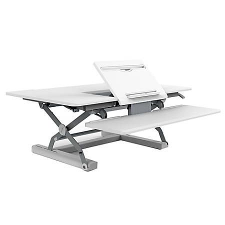 Loctek P-Series Sit-Stand Riser With Drop-Down Keyboard Tray, White
