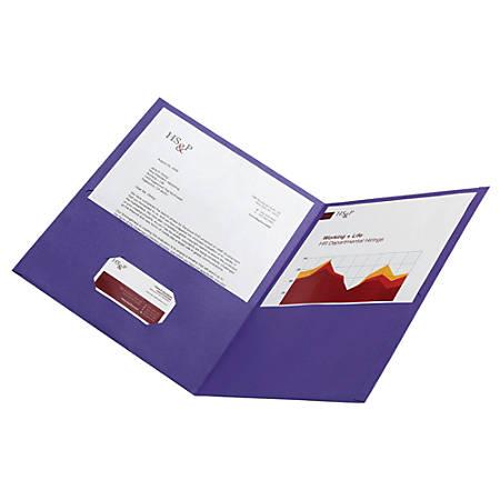 Office Depot® Brand Leatherette Twin-Pocket Portfolios, Violet, Pack Of 10