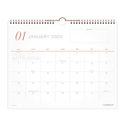 """Cambridge® WorkStyle Academic Monthly Wall Calendar, 15"""" x 12"""", Gray/Coral/White, July 2020 To June 2021, W1390-707A"""