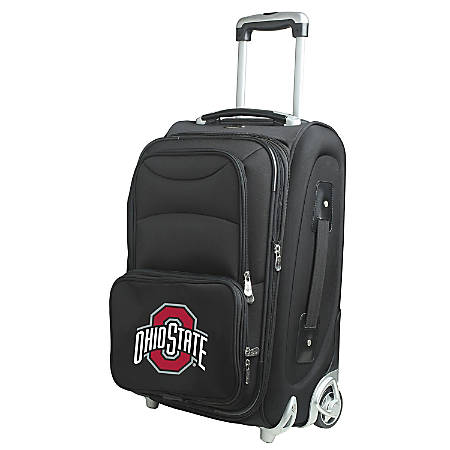 "Denco Nylon Expandable Upright Rolling Carry-On Luggage, 21""H x 13""W x 9""D, Ohio State Buckeyes, Black"