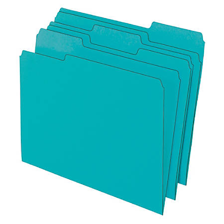 "Office Depot® Brand Color File Folders, 8 1/2"" x 11"", Letter Size, Aqua, Pack Of 3 Folders"