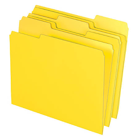 "Office Depot® Brand Color File Folders, 8 1/2"" x 11"", Letter Size, Yellow, Pack Of 3 Folders"