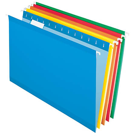 """Office Depot® Brand Reinforced Hanging File Folders, 8 1/2"""" x 11"""", Letter Size, Assorted Colors, Pack Of 6 Folders"""