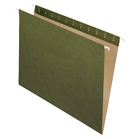 "Office Depot® Brand Hanging File Folder/File Folder Combo Kit, 3/4"" Expansion, Letter Size, 100% Recycled, Manila/Standard Green"
