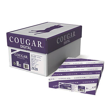 """Cougar® Digital Printing Paper, 11"""" x 17"""", 98 Brightness, 70 Lb Text (104 gsm), FSC® Certified, White, 500 Sheets Per Ream, Case Of 4 Reams"""