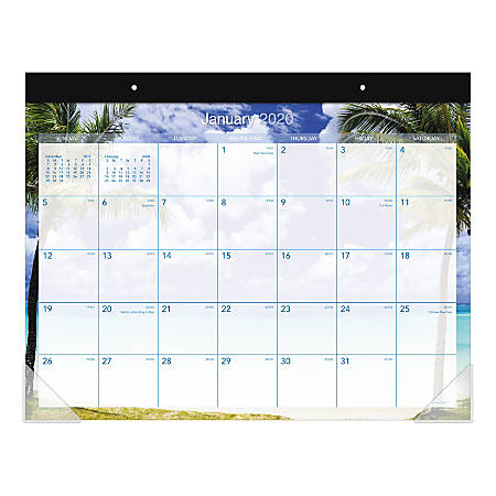 """AT-A-GLANCE® Tropical Escape Monthly Desk Pad Calendar, 22"""" x 17"""", January To December 2020, AAGDMDTE232"""