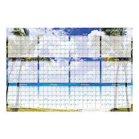"""AT-A-GLANCE® Erasable/Reversible Wall Planner, 36"""" x 24"""", Tropical Escape, January To December 2020, AAGDMWTEE28"""