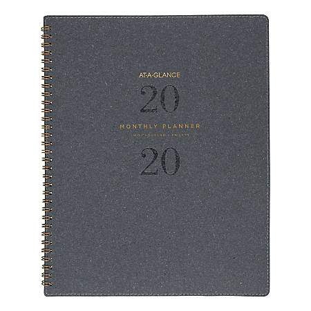 """AT-A-GLANCE® Signature Collection 13-Month Planner, Monthly, 11"""" x 8-3/4"""", Heather Gray, January 2020 To January 2021, AAGYP90045"""