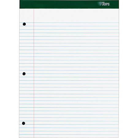 """TOPS Double Docket Rigid Back Legal Pads - 100 Sheets - Stapled/Glued - Ruled - 16 lb Basis Weight - 8 1/2"""" x 11 3/4"""" - White Paper - Green Binder - Hard Cover, Perforated, Stiff-back, Back Board - 100 / Pad"""