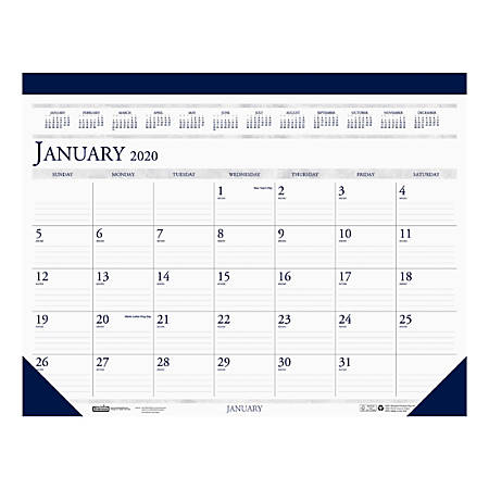 "House of Doolittle Monthly Desk Pad Calendar, 17"" x 22"", 100% Recycled, Blue/Gray, January To December 2020, HOD150"