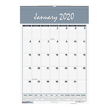 "House of Doolittle Bar Harbor Monthly Wall Calendar, 22"" x 31-1/4"", 100% Recycled, January To December 2020, HOD334"