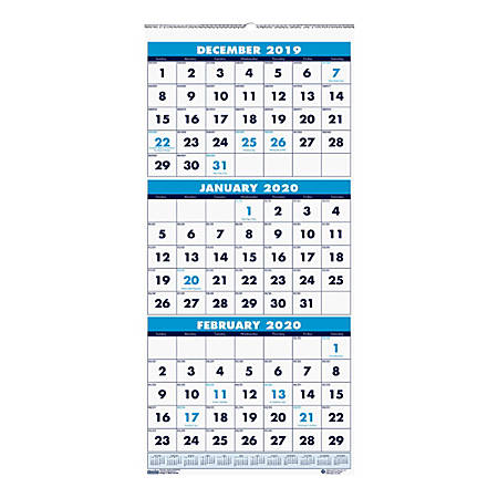 "House of Doolittle 3-Month Reference 14-Month Wall Calendar, 12-1/4"" x 27"", 100% Recycled, Blue/White, December 2019 To January 2021, HOD36"