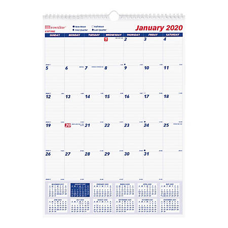 """Rediform® Ruled Block Monthly Wall Calendar, 8"""" x 11"""", 50% Recycled, White, January To December 2020, REDC171101"""