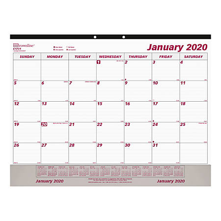 """Brownline® Daily/Monthly Desk Calendar, 17"""" x 22"""", Red/White, January To December 2020, REDC173"""