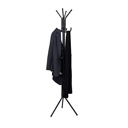 "Mind Reader Hang 11-Hook Metal Coat Rack, 68""H x 15""W x 15""D, Black"
