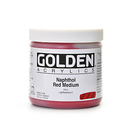 Golden Heavy Body Acrylic Paint, 16 Oz, Naphthol Red Medium