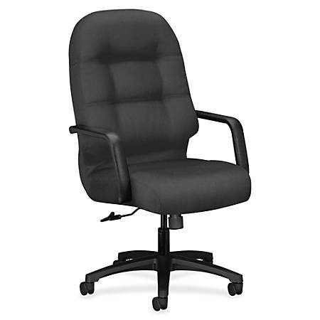 """HON Pillow-Soft Executive Chair - Polyester Iron Seat - Polyester Iron Back - Black Frame - 5-star Base - 22"""" Seat Width x 19"""" Seat Depth - 26.3"""" Width x 29.8"""" Depth x 46.5"""" Height"""