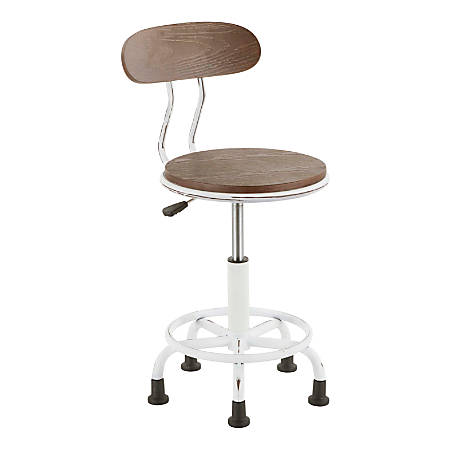 LumiSource Dakota Industrial Task Chair, Espresso/Vintage White