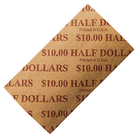 PM™ Company Coin Wraps, Half Dollars, $10/Wrap, Buff, Pack Of 1,000
