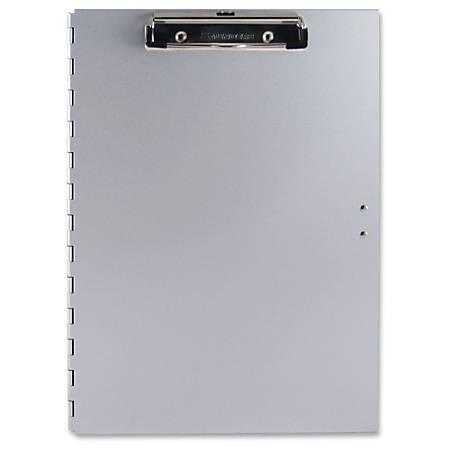 "Saunders Tuff Writer iPad Storage Clipboard - 0.50"" Clip Capacity - iPad, Pencil, Pen, Stylus, Paper, Tablet, Utensil - Side Opening - 8 1/2"" x 12"" - Low-profile - Aluminum - Silver - 1 Each"